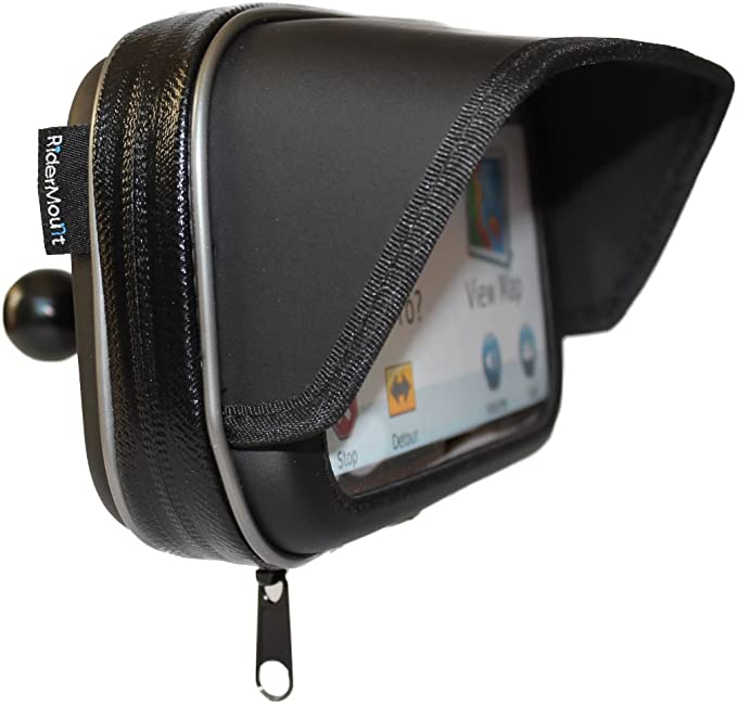 "RiderMount Waterproof Sunshade 5"" GPS Satnav Case with RAM Type 1"" Ball for Garmin Nuvi Tomtom Go Start 5 inch"