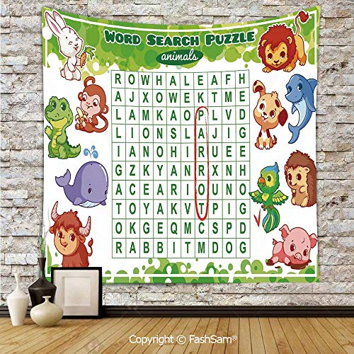 FashSam Polyester Tapestry Wall Educational Game for Kids Decorated with Cute Animals Worksheet Print Hanging Printed Home Decor(W51xL59)]()