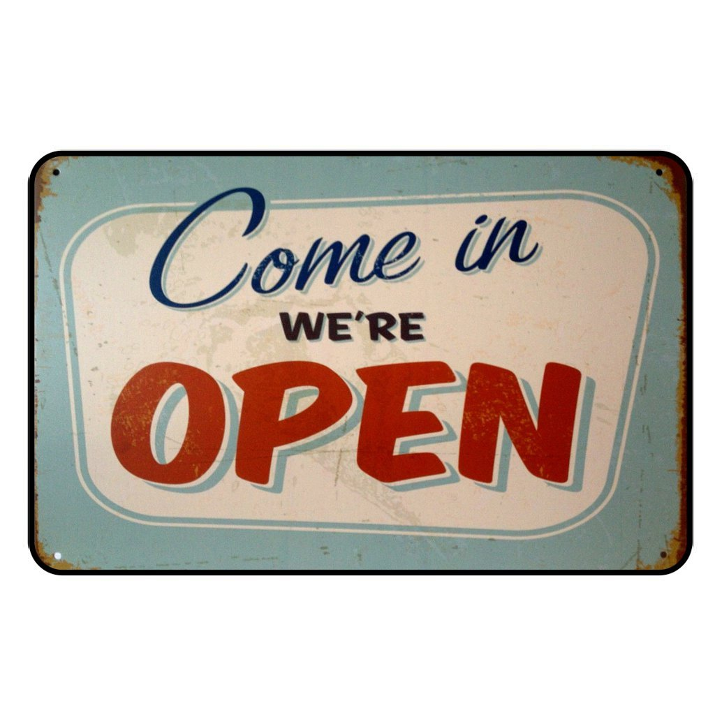 Cadora Targa magnetica calamita Frigo Vintage Retro pubblicit/à come in We re Open kommrein abbiamo aperto