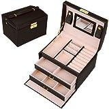 SZTulipジュエリーボックス アクセサリーケース 収納ケース 鏡 鍵付き3段 引き出し レディース小物入れ (ブラック)