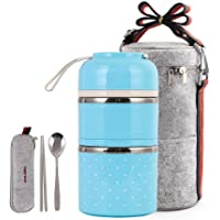 Cute Lunch Box Insulated Lunch Bag Bento Box Food Container Storage Boxes With Cutlery For Adults Office Camping (2 tiers(blue)) …