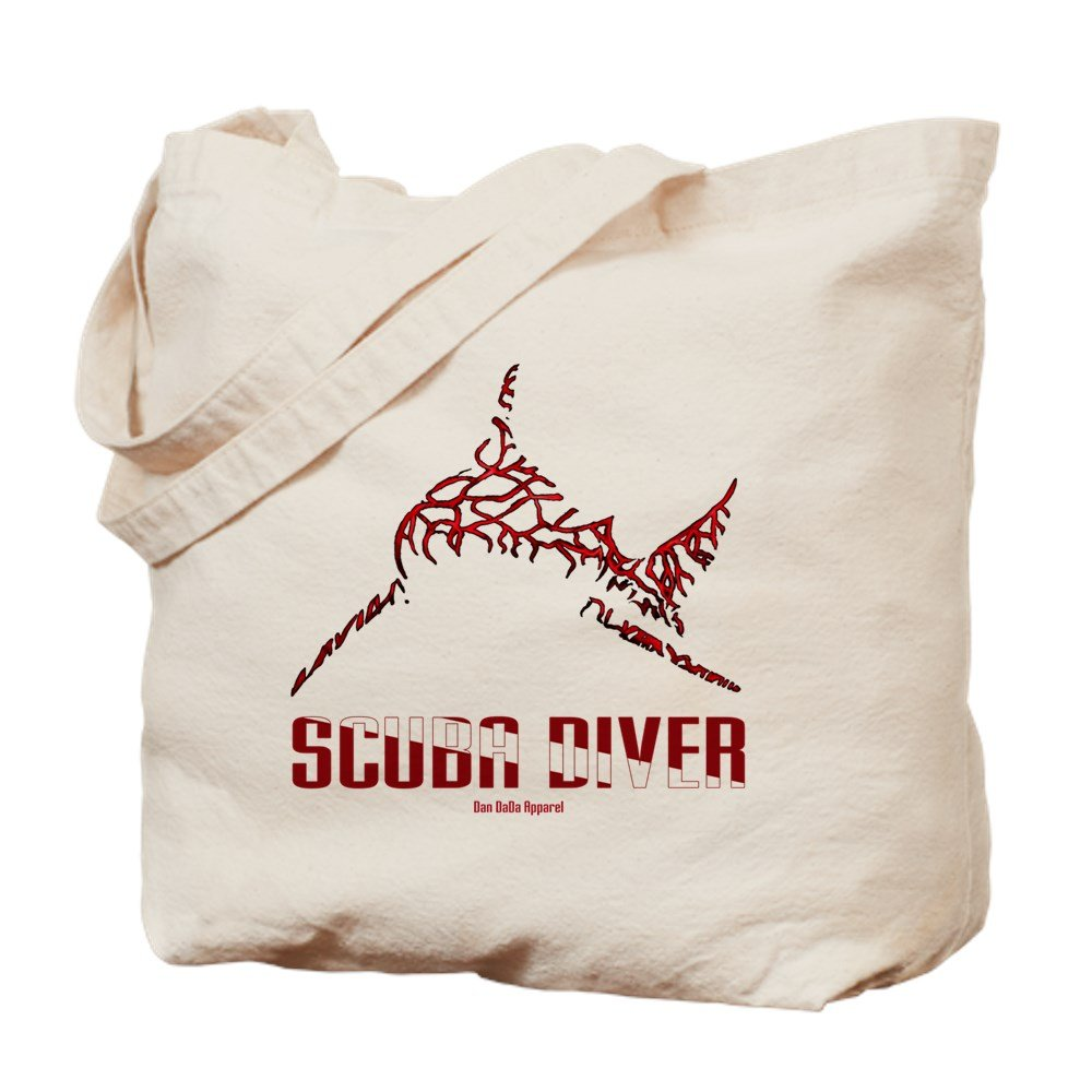 CafePress – bullshark Diver 10 x 10 CLR – ナチュラルキャンバストートバッグ、布ショッピングバッグ B01LOR08QI