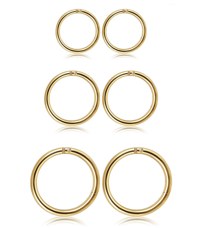 fb56d1a5b Besteel 3 Pares Acero Inoxidable Piercing Pendientes de Aro para Hombres  Mujeres Piercings Oreja Labios Septum