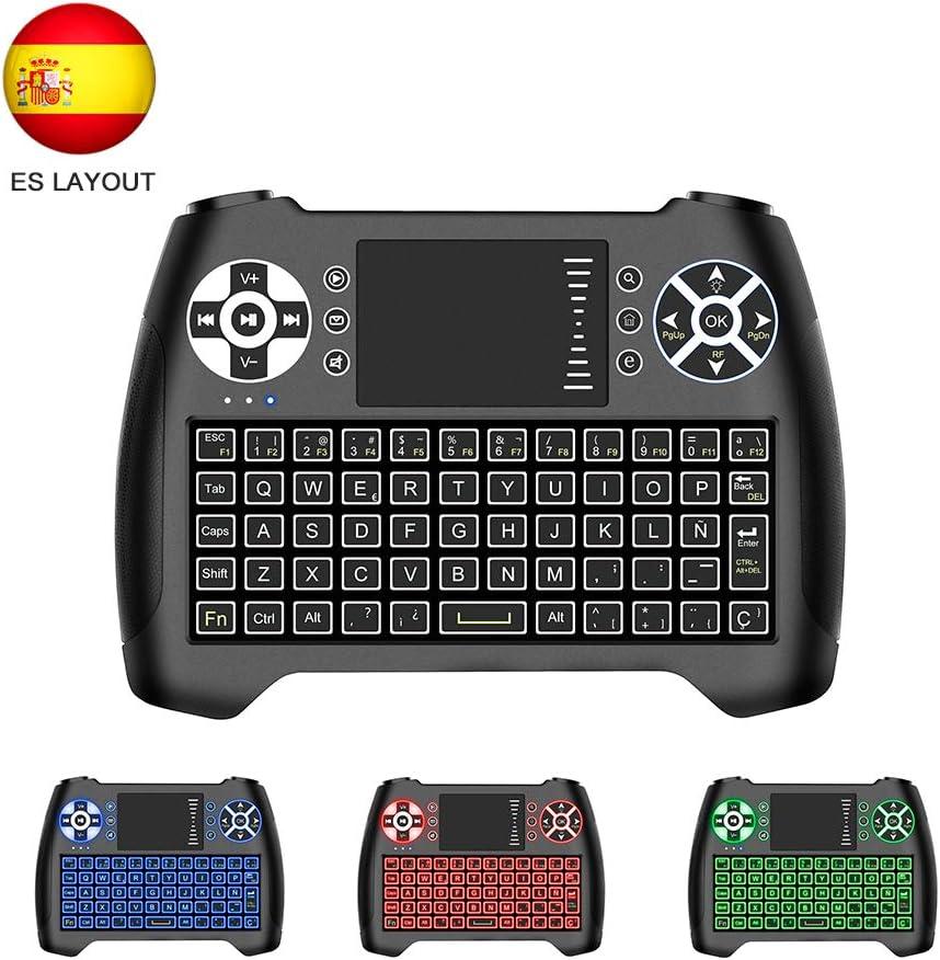 Horsky Español Mini Teclado Inalámbrico 2.4GHz Touchpad Keyboard Botones 76 Teclado led con Ratón para Smart TV, PC, Android TV Box, HTPC, IPTV, Xbox, XBOX360, PS3, Fox Retroiluminado Azul: Amazon.es: Electrónica
