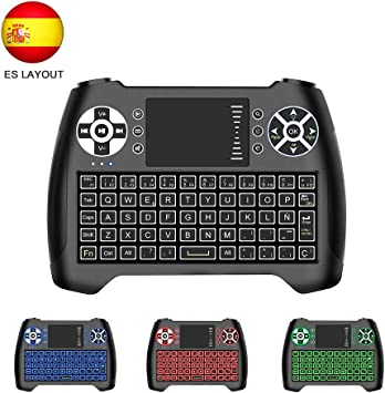 Horsky Español Mini Teclado Inalámbrico 2.4GHz Touchpad Keyboard Botones 76 Teclado led con Ratón para Smart TV, PC, Android TV Box, HTPC, IPTV, Xbox, XBOX360, PS3, Fox Retroiluminado Azul: Amazon.es: Electrónica