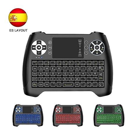 Horsky Español Mini Teclado Inalámbrico 2.4GHz Touchpad Keyboard Botones 76 Teclado led con Ratón para