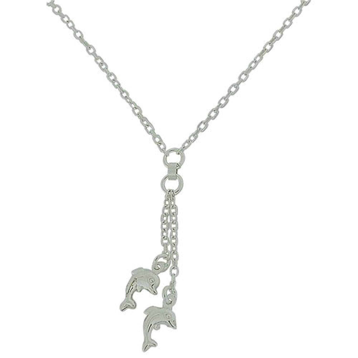 The Olivia Collection TOC 925 Sterling Silver 16 Inch Necklace with Double Dolphin Drop Pendant