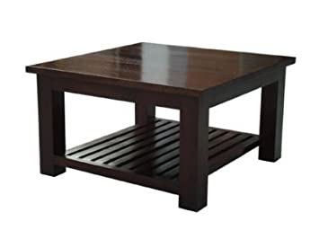 Homescapes Mangat Square Coffee Table With A Storage Shelf, 100% Mango Wood  Furniture Walnut