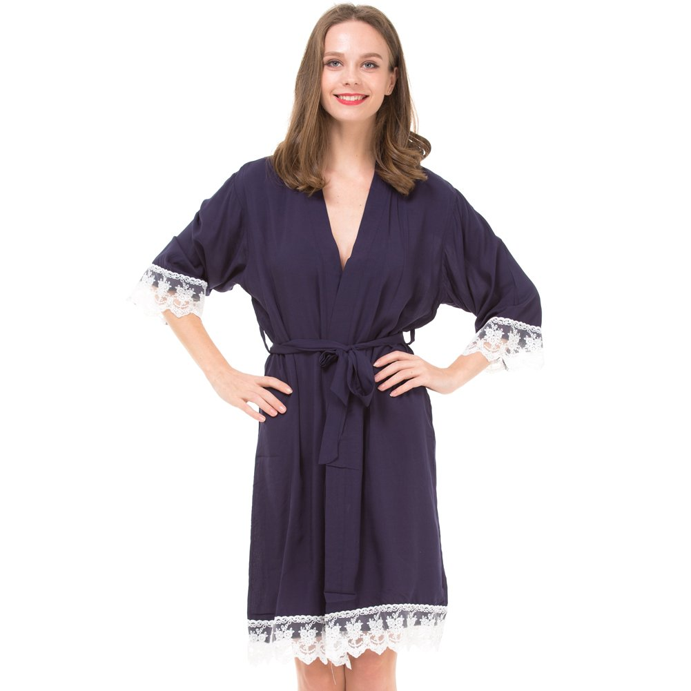 Set of 7 Women's Cotton Robes for Bride and Bridesmaid with Lace Trim by Mr&Mrs Right (Image #2)