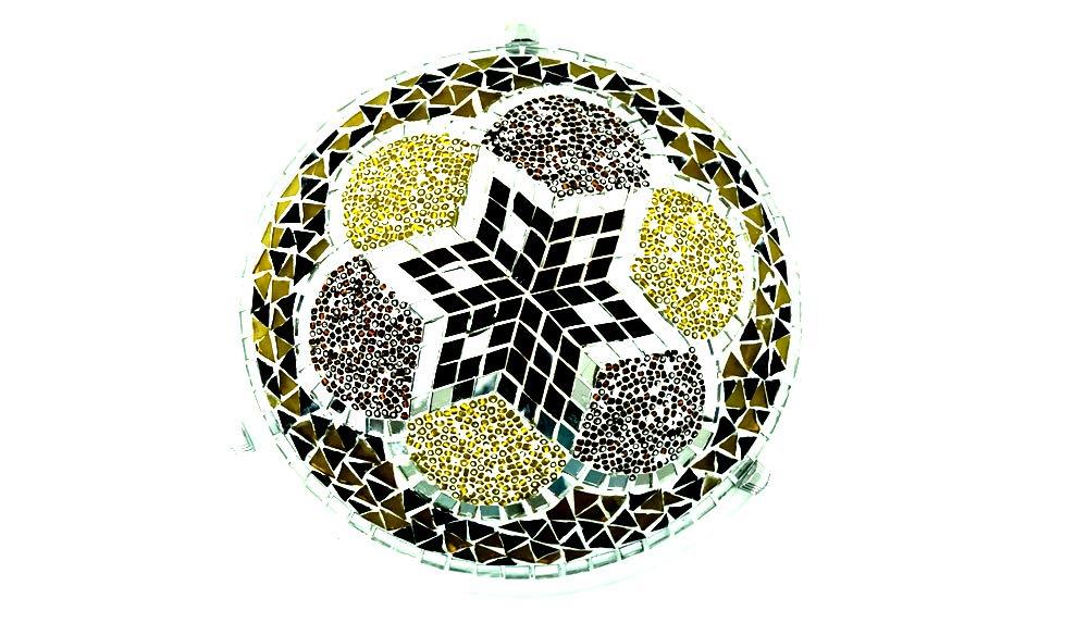 Orientalische Türkische Handgefertigte Mosaik Glas Deckenlampe Innenleuchte Pendelleuchte Deckenleuchte Aussenleuchte Handarbeit Hängeleuchte (Braun-Gold)