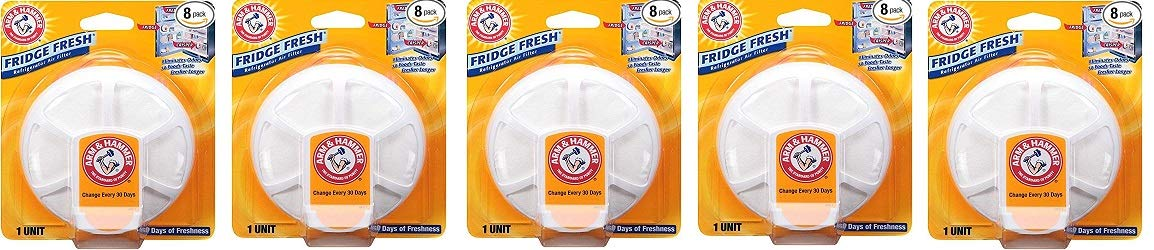 Arm & Hammer 33200-01710 Baking Soda Fridge Fresh Air Filter, 0.28 oz (Pack of 8) (5-(Pack))