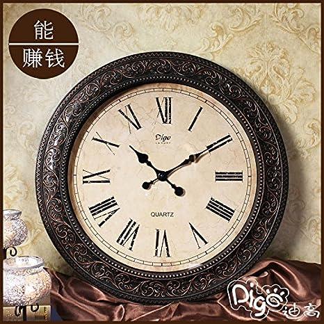FEIXU Relojes creativos digitales mudos Inicio decoración pared reloj grande americana imitación salón retro reloj de pared: Amazon.es: Hogar