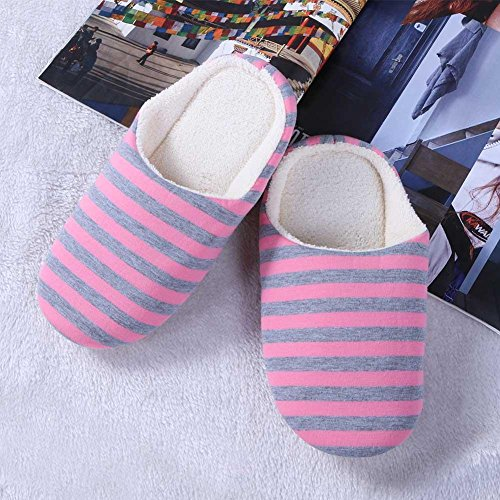 Slippers Home Slip Flat Warm Striped Soft Winter Pink Shoes Indoor Bottom Anti FINIFLY t1qRt