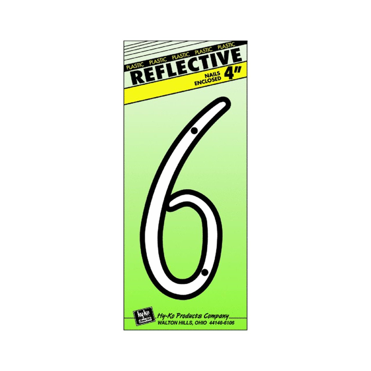 """HY-KO PRODUCTS 30606 Plastic Numbers Reflective 6 Silver Black Nail-On, 4"""""""