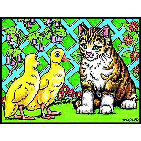 LAMINA PARA COLOREAR con caja de rotuladores. Patos y Gato: Amazon.es: Hogar