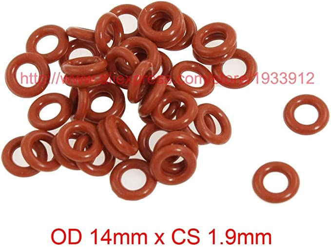 Gimax OD 14mm x CS 1.9mm red o-Ring Silicone o Ring Sealing Gasket