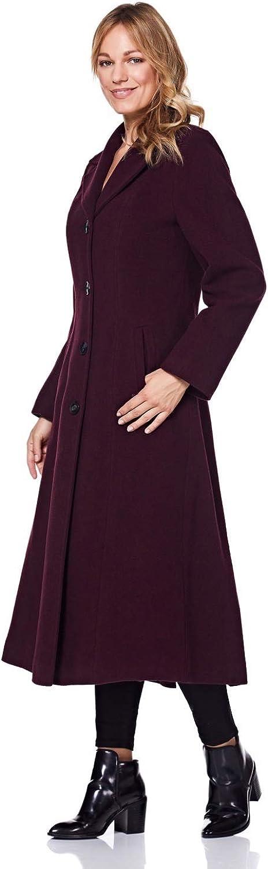 De la Crème - Longue Manteau d'hiver en Laine et Cachemire pour Femme Bourgogne