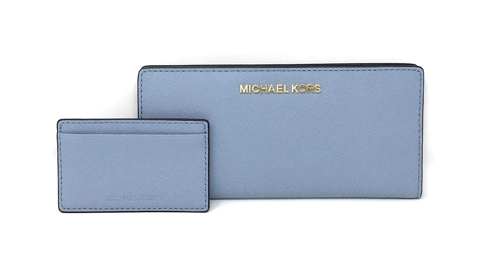 Michael Kors Jet Set Travel Large Card Case Carryall Leather Wallet Pale Blue/Navy