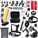 BigGPR Essential Accessories Bundle Kit for GoPro Hero 4 3+ 3 2 1 Black Silver and SJ4000 SJ5000 SJ6000 - Sports Camera Accessories Set in Outdoors