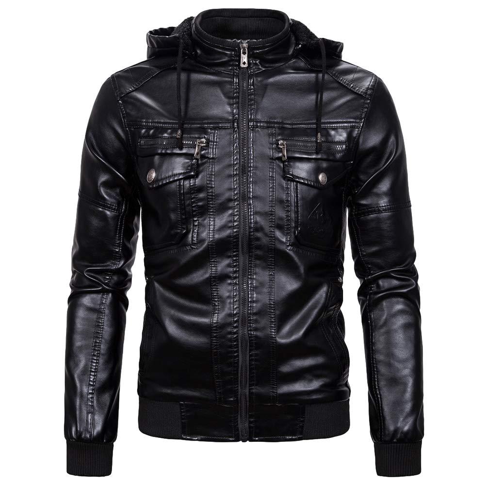 motorista de la motocicleta con capucha abrigos de algod/ón resistente al blusa de la tapa invierno espesa la prendas de vestir exteriores caliente Chaquetas de cuero para hombre PU de la vendimia