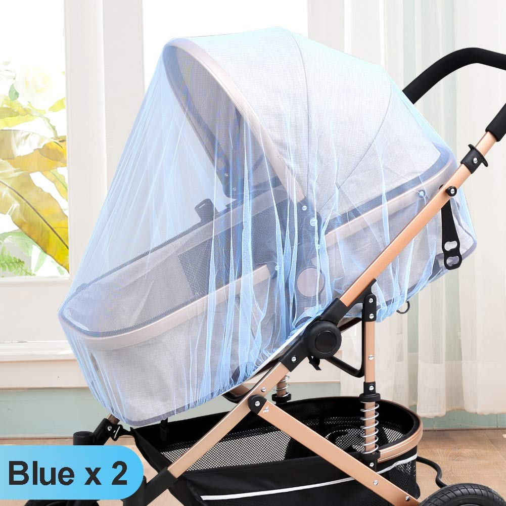 GLXQIJ 2Pcs Universal Mosquito Net for Baby Stroller, with Mat, Full Cover Infant Car Seat Insect Net,Extra Fine Holes,Easy to Install,B