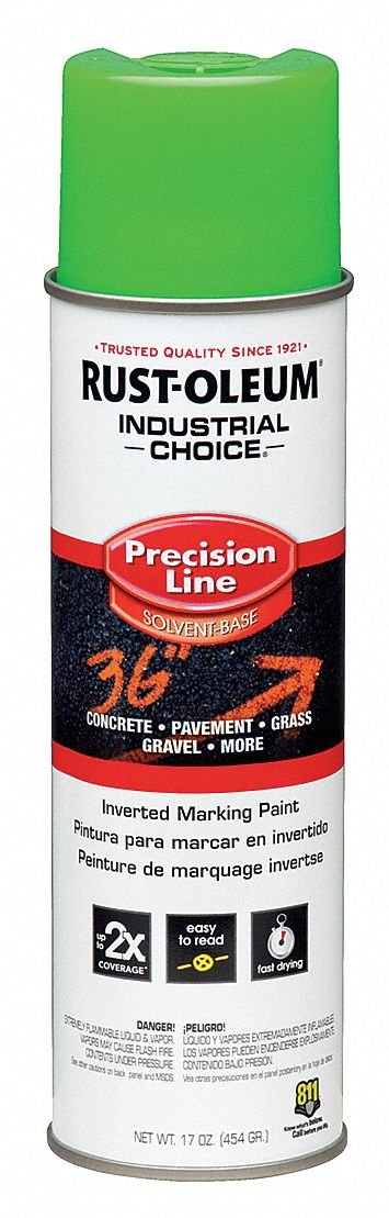 Rust-oleum Solvent-Base Precision Line Marking Paint, Fluorescent Green, 17 oz. 17 oz. 203023-1 Each