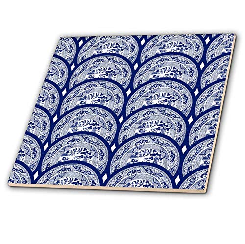 3dRose Russ Billington Patterns - Overlapping Willow Pattern Plates in Blue and White - 6 Inch Ceramic Tile (ct_294407_2)