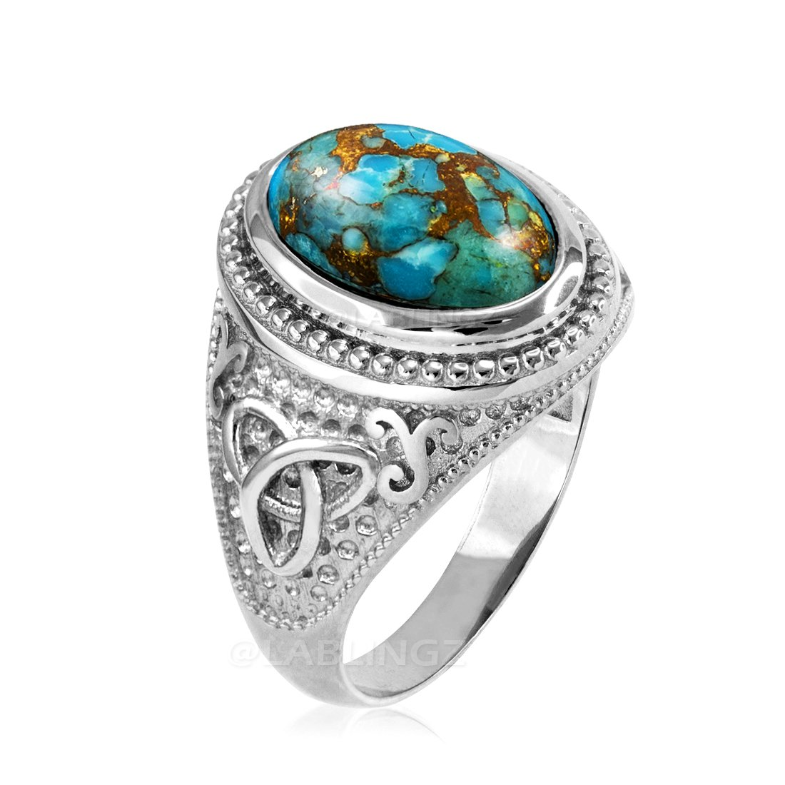 Sterling Silver Celtic Triquetra Blue Copper Turquoise Statement Ring