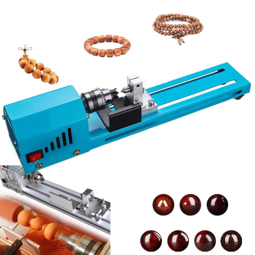 NOBGP Mini Beads Machine Miniature Lathe, 150W Large Power Buddha Pearl Lathe Grinding and Polishing Beads Wood Working DIY Lathe Polishing Drill Rotary Tool