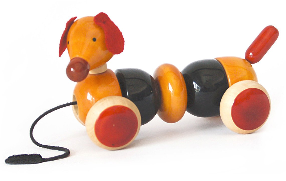 Handmade Wooden Bead Pull Toy Dog made using Natural Colors for Toddlers 3 years old and up helps in early education and development | BOVOW by Maya Organic RED