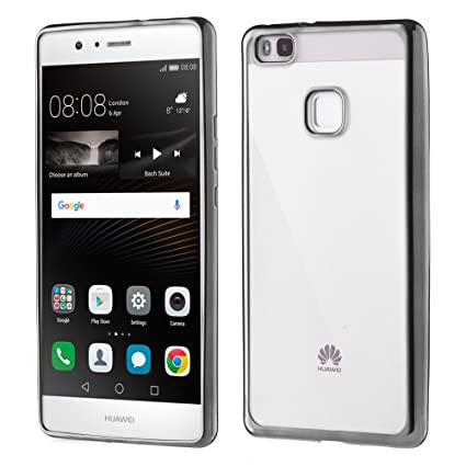 i-comercio Metalic Funda Huawei P9 Lite Carcasa TPU Gel Silicona Borde Metalizado Huawei P9 Lite (Negro/Gris)