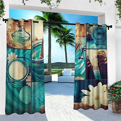 leinuoyi Spa, Outdoor Curtain Extra Wide, Blue Themed White Daisies Scents Towels and Incense Artwork Collage Design, Set for Patio Waterproof W120 x L108 Inch Blue Brown and White