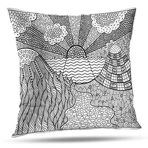 Geericy Summer Psychedelic Decorative Throw Pillow Covers, Doodle Surreal Landscape Coloring Page for Adults Fantastic Graphic Artwork Cushion Cover 18 x 18 Inch for Bedroom Sofa]()