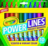 Crayola Power Lines, Washable Scented Markers, 10-Count, Vibrant Colors, Thick Lines, great for Home & School Projects