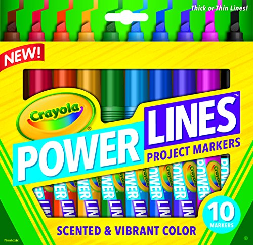 Crayola Power Lines, Washable Scented Markers, 10-Count, Vibrant Colors, Thick Lines, great for Home & School - Poster Board Media
