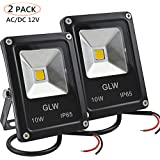 LED 12V Flood Lights 10W AC or DC Warm White Led Outdoor Light Mini-Size Waterproof Security Light 750lm 80w Halogen Bulb Equivalent (Pack of 2)