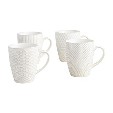 Textured Stoneware Coffee Mug Large 16.9 Oz - White (Diamonds)
