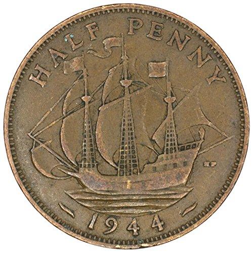 1944 UK Great Britain George VI Bronze Halfpenny Good