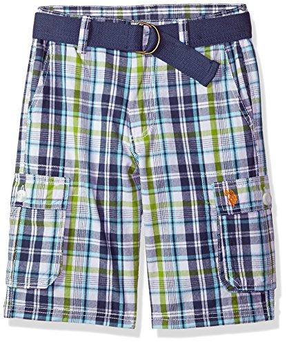 U.S. Polo Assn. Boys' Big Short, Plaid Cargo Orange Logo Apple Green 10