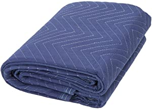 CCAN Huhn Moving Packing Blankets,Wear-Resisting Pads Quilted and Durable Protect Furniture and Vehicles for Movers Supplies,Navy Blue and Black,203×183cm