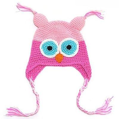 LOCOMO Baby Infant Knit Beanie Crochet Hoot Owl Hat Cap Ear Flap Warm FBA003