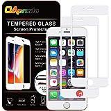 【2枚セット】 OAproda iPhone8 Plus / iPhone7 Plus ガラスフィルム 全面保護 液晶フルカバー【ガイド枠付き】【存在感ゼロ/画面高精細/貼り付け簡単 / 3D Touch/指紋防止/浮き防止】 強化ガラス液晶保護フィルムiPhone7プラス/ iPhone8プラス 5.5インチ用ホワイト(白)