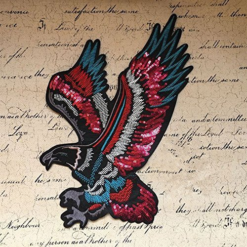 Toonol Sew on Sequined Patch Animal Eagle Sequin Patches Stickers for Clothes DIY Craft Sewing Supplies 37.5 x 19.8CM