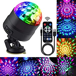 Disco Ball Party Lights Portable Rotating Lights Sound Activated LED Strobe Light 7 Color with Remote and USB plug in for Car Home Room Parties Kids Birthday Dance Wedding Show (RGBP 7 mode)