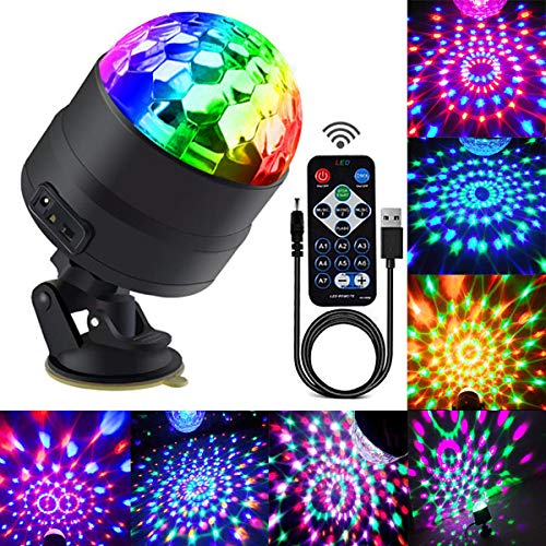 Disco Ball Party Lights Portable Rotating Lights Sound Activated LED Strobe Light 7 Color with Remote and USB plug in for Car Home Room Parties Kids Birthday Dance Wedding Show (RGBP 7 mode)]()