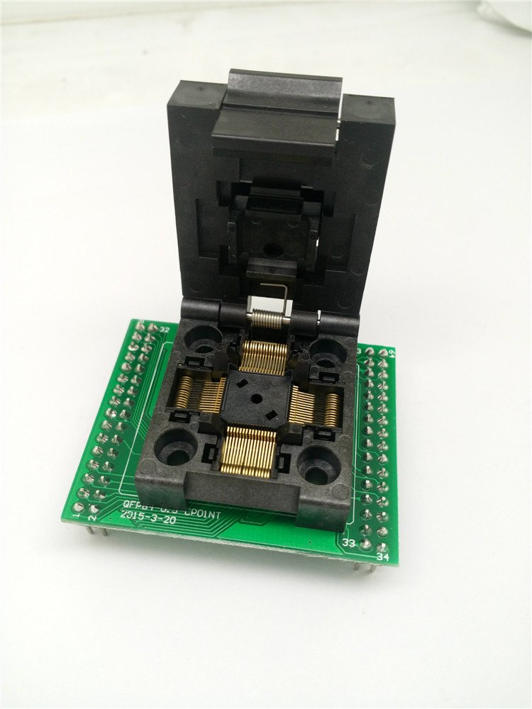 QFP64 TQFP64 LQFP64 to DIP64 Programming Socket Pin Pitch 0.5mm IC Body Size 10x10mm IC tip to tip size 12X12 FPQ-64-0.5-06 Test Socket Adapter Programmer MCU