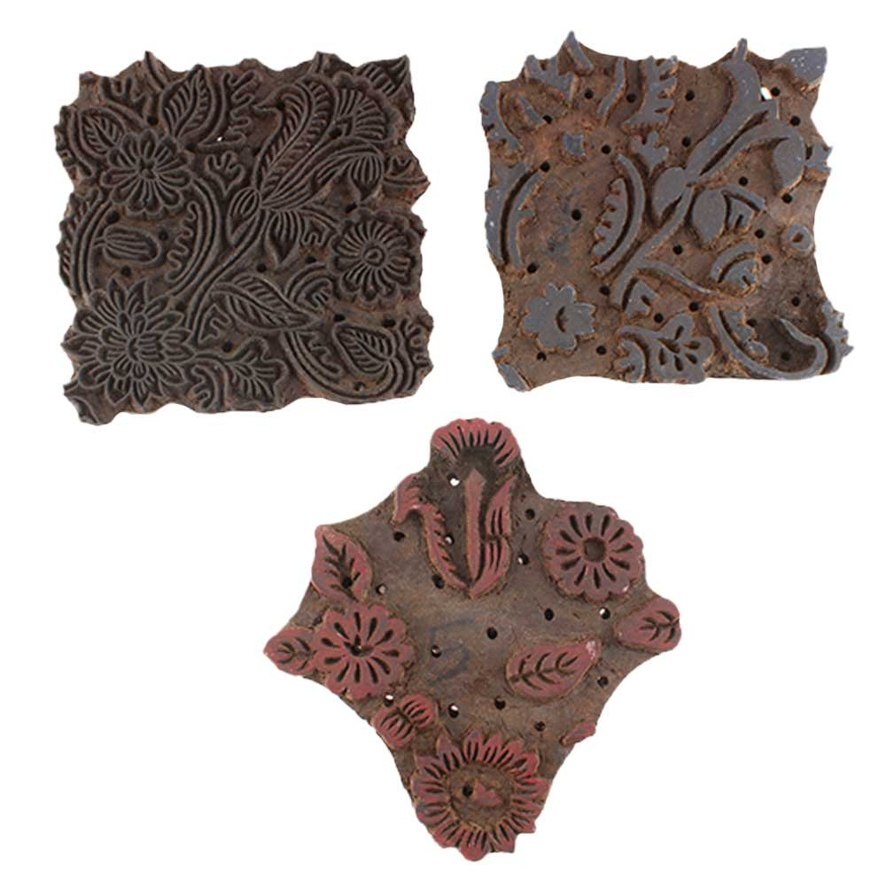IndianShelf Handmade 3 Piece Wooden Printing Blocks Textile Crafts Canvas Paper Hand Carved Saree Border Making Pottery Cloth Stamps WB-5553