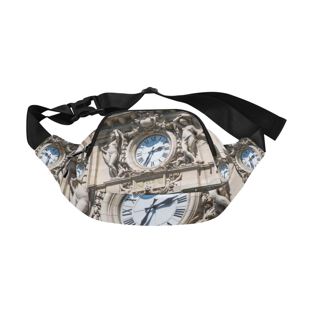 Old Clock In The Old Town Fenny Packs Waist Bags Adjustable Belt Waterproof Nylon Travel Running Sport Vacation Party For Men Women Boys Girls Kids