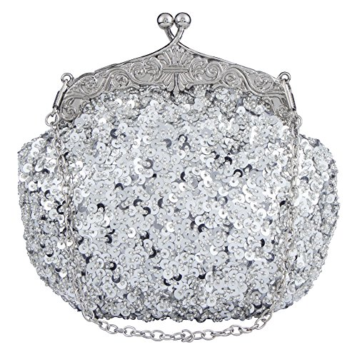 Bagood Women's Vintage Evening Bags Clutches Purses Handbag Shoulder Bag Seed Beaded Sequin Flower for Wedding Bridal Prom Party Silver -