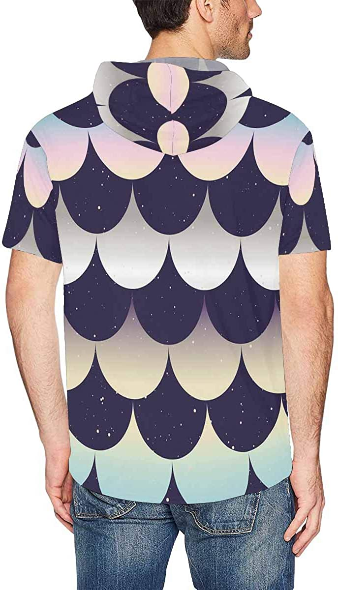 XS-2XL INTERESTPRINT Mens Hoodies Pullover Japanese Fish Scale Short Sleeve Drawstring Shirts